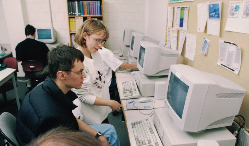 TVP students working in a computer lab.