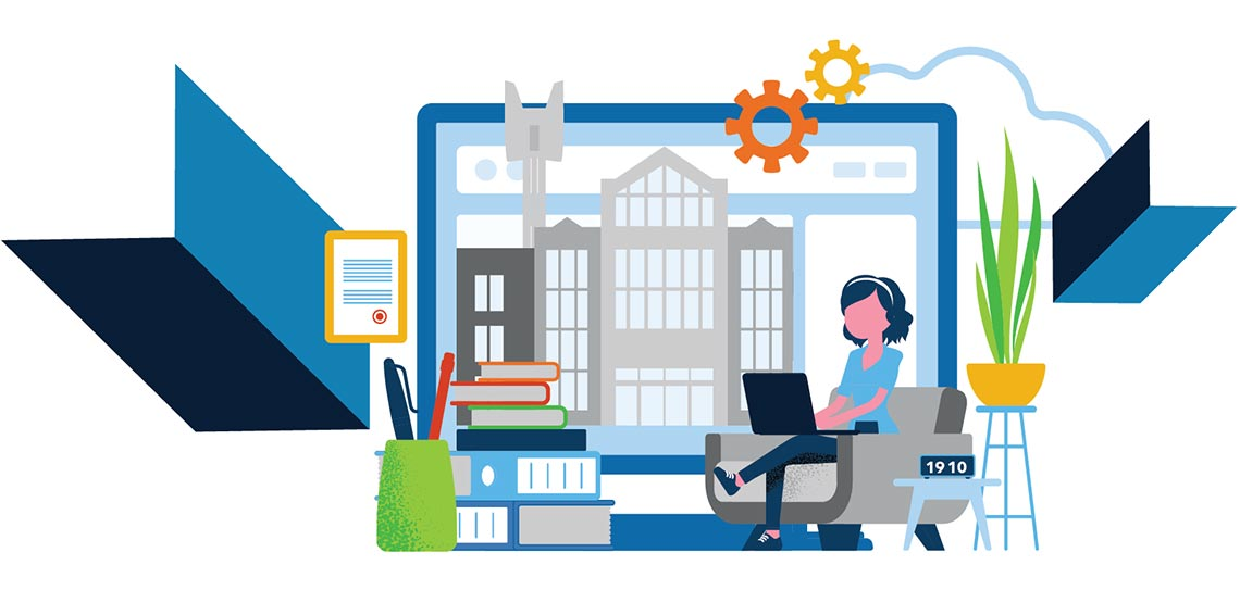 Illustration of Mount Royal University on an oversized screen surrounded by books and plants. A student works on a laptop in front of the giant screen.