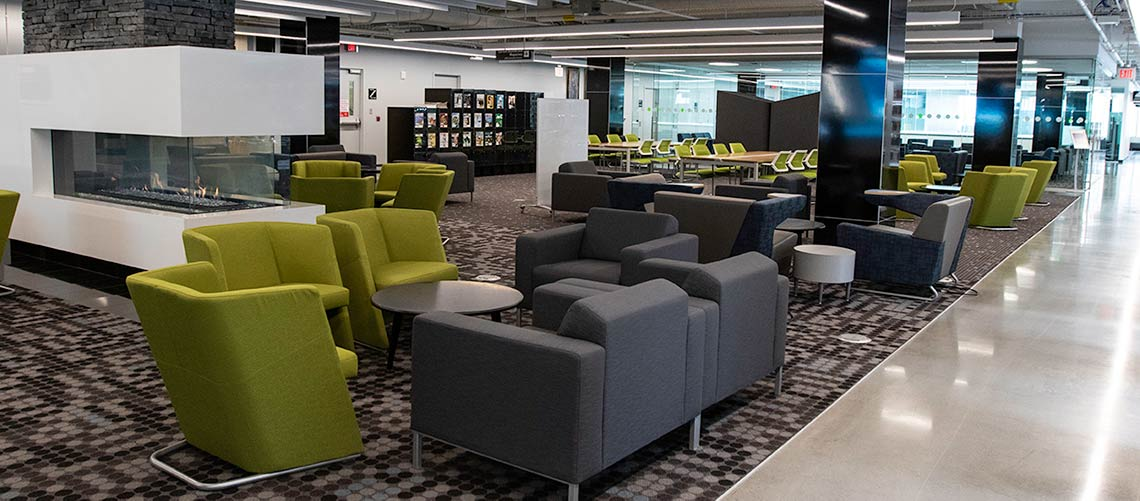 Photo of the third floor of the Riddell Library and Learning Centre
