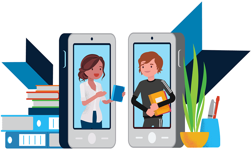 Illustration of two students standing in the screen of oversized phones talking. The phones are surrounded by school supplies.