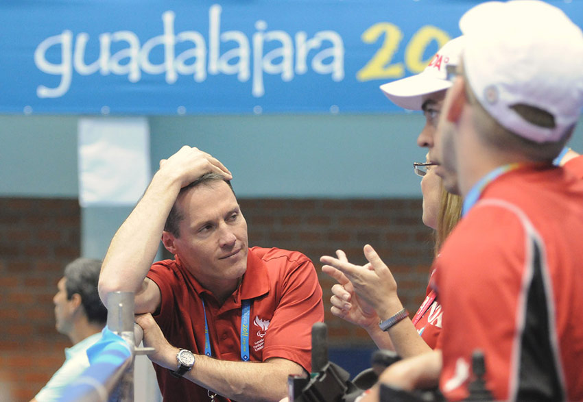 Photo of David Legg with the Canadian team at the Parapan American Games in Guadalajara, Mexico in 2011.