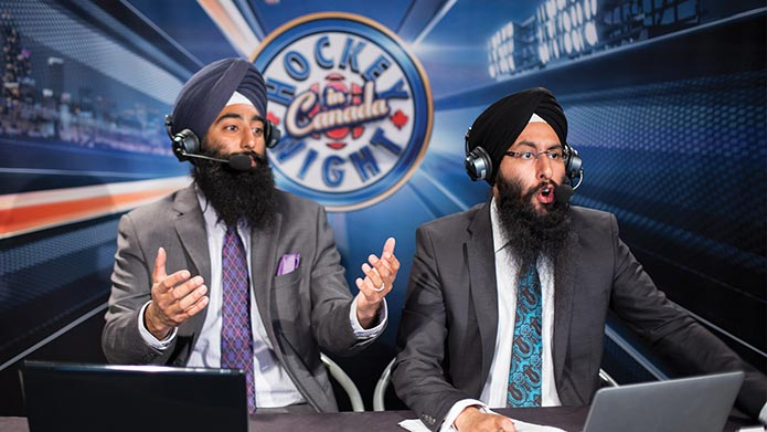 Harnarayan Singh and co-host on the set of Hocket Night in Canada Punjabi edition.