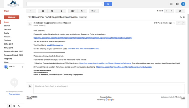 EmailConfirmation_ROMEO_Research